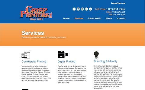 Screenshot of Services Page crispprinters.com - Crisp Printers, Inc., Color Printing Services - captured Nov. 12, 2016