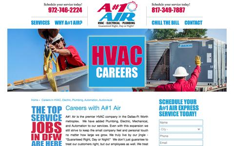 Screenshot of Jobs Page anumber1air.com - Careers in HVAC, Electric, Plumbing, Automation, Audiovisual | A#1 Air - captured Nov. 14, 2016