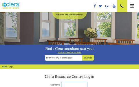 Screenshot of Login Page clerawindows.com - Login | Clera Windows + Doors - captured Sept. 28, 2018