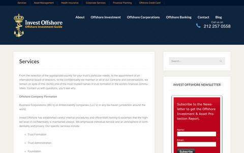 Screenshot of Services Page investoffshore.com - Services - Invest Offshore - captured Sept. 22, 2014