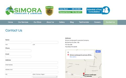 Screenshot of Contact Page simora.com - Contact Us - Simora Landscape & Lawncare - captured Oct. 7, 2014