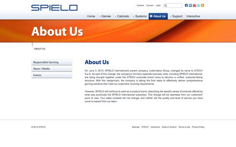 Screenshot of About Page spielo.com - About Us | SPIELO - captured Sept. 19, 2014