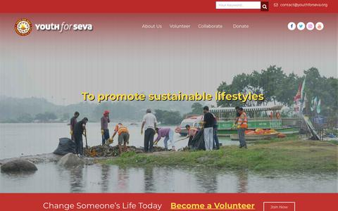 Screenshot of Home Page youthforseva.org - Youth For Seva - Experience the Joy of Giving - captured Sept. 20, 2018