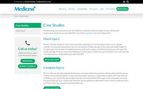 Screenshot of Case Studies Page medicess.co.uk - Case Studies - Rehabilitation Case Management Specialists - captured Nov. 28, 2016