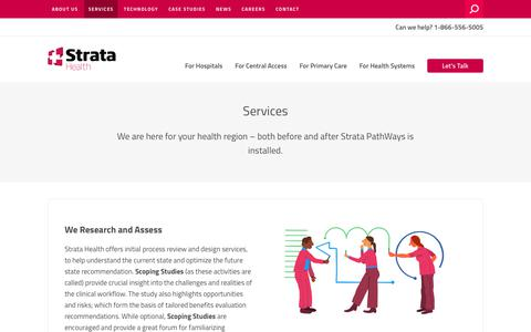 Screenshot of Services Page stratahealth.com - Services – Strata Health Solutions - captured Sept. 22, 2018