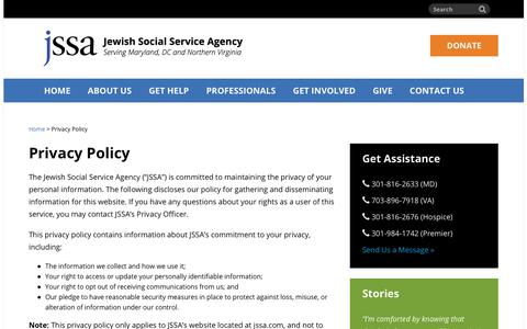 Screenshot of Privacy Page jssa.org - Privacy Policy | Jewish Social Service Agency (JSSA) - captured Oct. 16, 2017