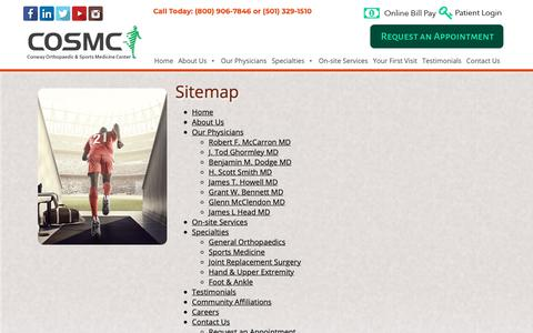 Screenshot of Site Map Page conwayortho.com - Sitemap | Conway Orthopaedic & Sports Medicine Clinic - captured Sept. 29, 2018