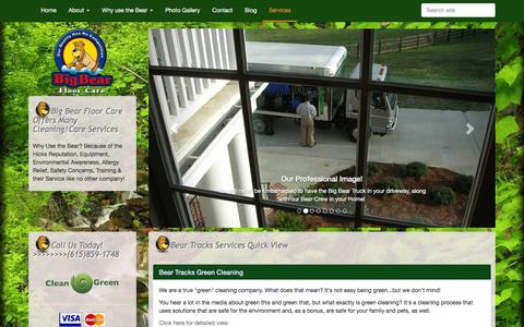 Screenshot of Services Page hickscarpetcare.com - Big Bear Floor Care Offers Many Cleaning/Care Services - captured Dec. 9, 2015