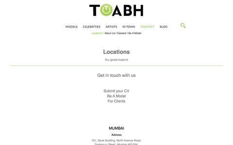 Screenshot of Contact Page Locations Page toabh.com - TOABH Talent Management - captured Dec. 1, 2016