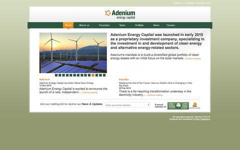 Screenshot of Home Page adeniumcapital.com - Adenium - captured Feb. 5, 2016