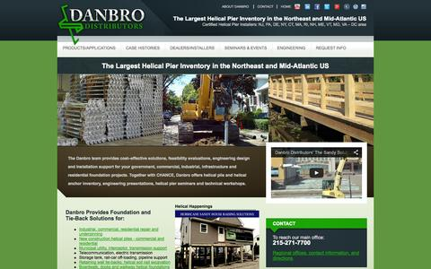 Screenshot of Home Page danbro.com - Helical Piers | Helical Piles | AB Chance Helical Piers - captured Oct. 5, 2014