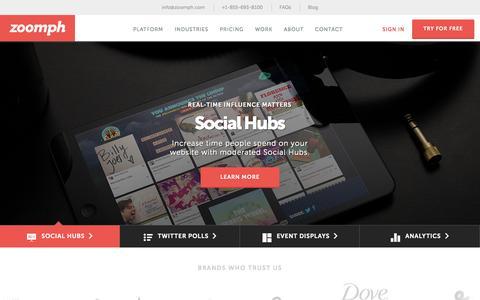 Screenshot of Home Page zoomph.com - Zoomph | Influencer Engagement Platform | Social Media Marketing - captured Jan. 26, 2015
