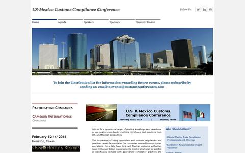 Screenshot of Home Page customsconferences.com - US-Mexico Customs Compliance Conference - Home - captured Oct. 3, 2014