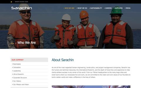Screenshot of About Page sarachin.com - Who We Are - Sarachin - captured July 27, 2018