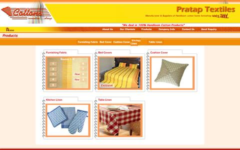 Screenshot of Products Page prataptextiles.com - Welcome to Pratap Textiles - captured Sept. 30, 2014