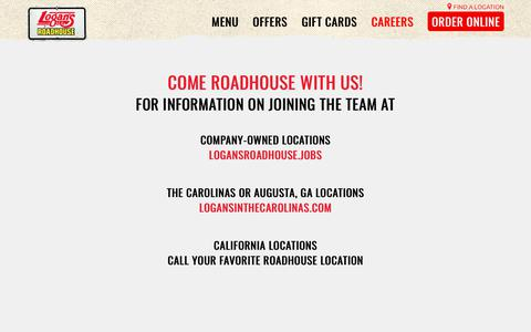 Screenshot of Jobs Page logansroadhouse.com - Careers at Logan's Roadhouse   Logan's Roadhouse - captured Sept. 27, 2018