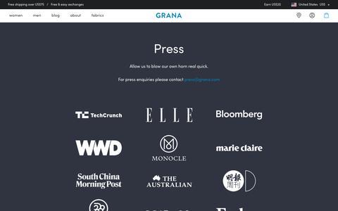 Screenshot of Press Page grana.com - Press | Grana - captured July 15, 2018