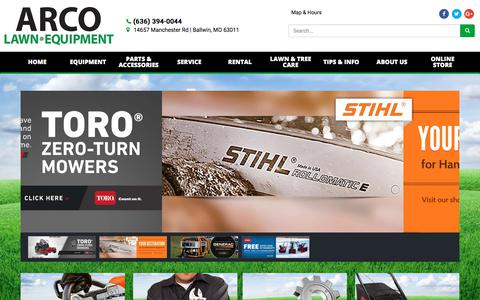 Screenshot of Home Page arcolawn.com - Home ARCO Lawn Equipment Ballwin, MO (636) 394-0044 - captured Oct. 9, 2017