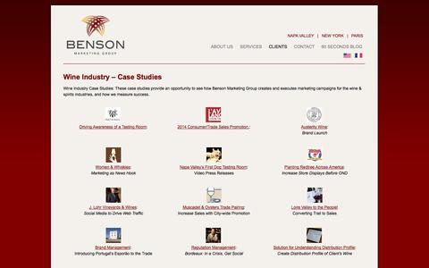 Screenshot of Case Studies Page bensonmarketing.com - Wine Industry Case Studies - Benson Marketing Group - captured Oct. 5, 2014