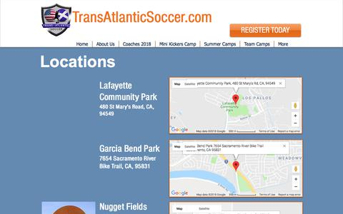 Screenshot of Locations Page transatlanticsoccer.com - Transatlantic Soccer | Locations - captured Sept. 21, 2018