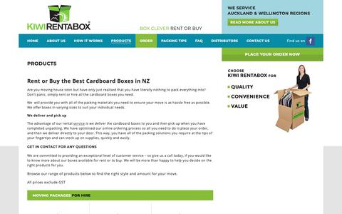 Screenshot of Products Page kiwirentabox.co.nz - Hire Cardboard Storage Boxes in Auckland & Wellington, NZ - captured Dec. 20, 2018
