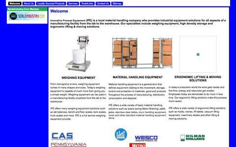 Screenshot of Home Page innovativeequipment.net - Innovative Process Equipment - captured Oct. 6, 2014