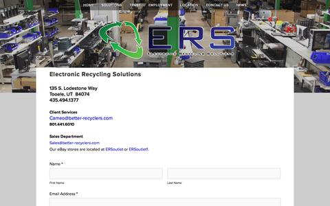 Screenshot of Contact Page betterrecyclers.com - Contact Us - Electronic Recycling Solutions — Electronic Recycling Solutions - Utah - captured Jan. 27, 2016