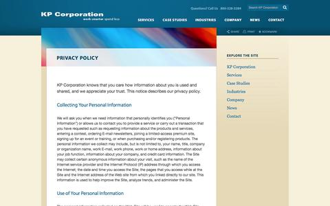 Screenshot of Privacy Page kpcorp.com - Privacy Policy | KP Corporation - captured Sept. 16, 2014