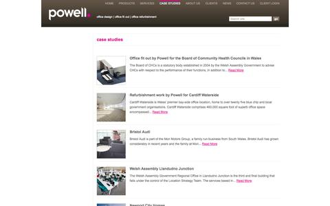 Screenshot of Case Studies Page powell.co.uk - Case studies -  Powell Office Furniture, Cardiff, South Wales - captured Oct. 2, 2014
