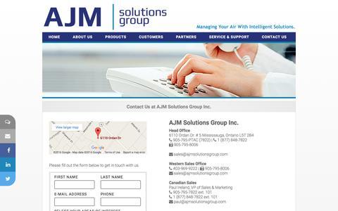 Screenshot of Contact Page ajmsolutionsgroup.com - AJM Solutions Group Inc.  - Hospitality Solutions - captured Feb. 4, 2016