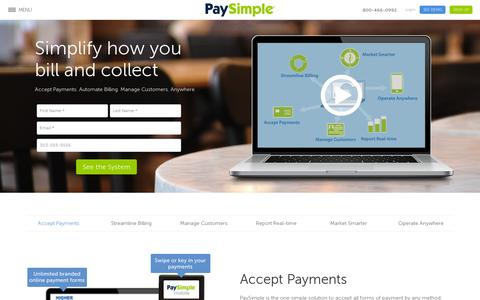 Screenshot of Home Page paysimple.com - PaySimple: Online Solution to Manage & Grow Your Business - captured July 11, 2014