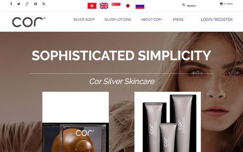 Screenshot of Home Page corsilver.com - Cor Silver Skincare - captured Aug. 28, 2017