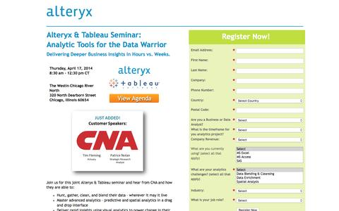 Screenshot of Landing Page alteryx.com - Analytic Tools for the Data Warrior - captured June 27, 2016