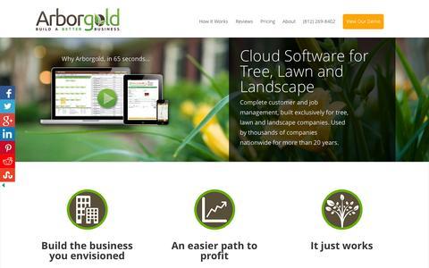 Screenshot of Home Page arborgold.com - Arborgold Software - captured Sept. 15, 2015