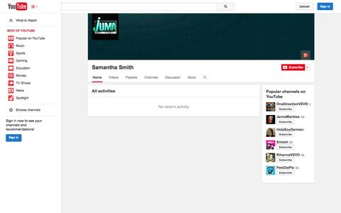 Screenshot of YouTube Page youtube.com - Samantha Smith  - YouTube - captured Oct. 25, 2014