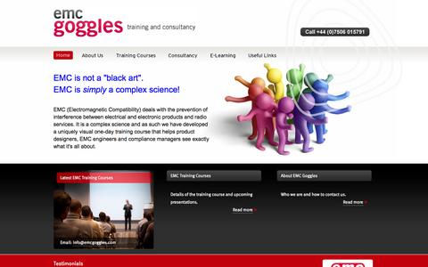 Screenshot of Home Page emcgoggles.com - EMC Training, Consultancy, and E-Learning | EMC Goggles - captured Sept. 26, 2014