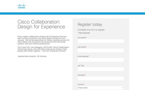 Screenshot of Landing Page cisco.com - Cisco Webinars - captured April 21, 2017