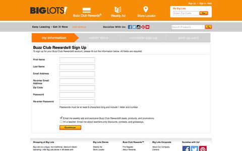 Screenshot of Signup Page biglots.com - Buzz Club Rewards® Sign Up | My Information - captured Oct. 29, 2014