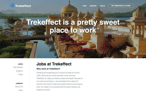 Screenshot of Jobs Page trekeffect.com - Jobs | Trekeffect - captured Oct. 8, 2014