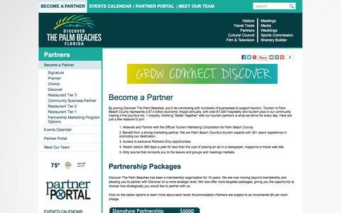 Screenshot of Signup Page palmbeachfl.com - Become a Partner of Discover The Palm Beaches - captured Nov. 26, 2015