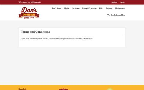 Screenshot of Terms Page donssmokehouse.com - Terms and Conditions - Don's Smokehouse - captured April 10, 2017