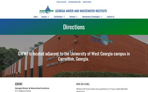 Screenshot of Maps & Directions Page gwwi.org - Directions - Georgia Water and Wastewater Institute, Inc. - captured Oct. 25, 2018