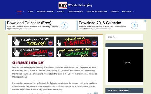 Screenshot of Home Page nationaldaycalendar.com - National Day Calendar | Fun, unusual and forgotten designations on our calendar. - captured Oct. 31, 2016