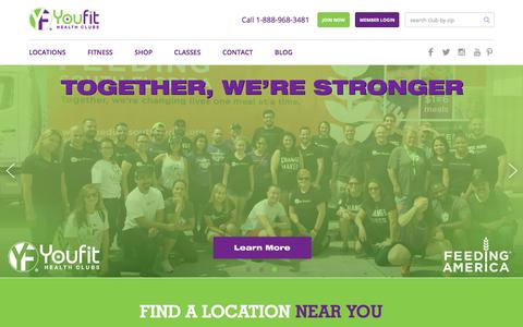 Screenshot of Home Page youfit.com - Youfit Health Clubs | Health Clubs & Gyms Near Me - captured Oct. 24, 2017