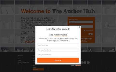 Screenshot of Home Page theauthorhub.com - The Author Hub - The Author Hub - captured Aug. 13, 2016