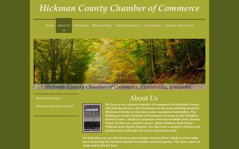 Screenshot of About Page hickmancountychamber.org - Hickman County Chamber of Commerce Centerville, TN - About Us - captured Jan. 29, 2016