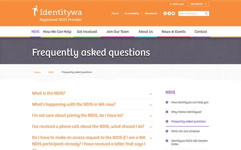 Screenshot of FAQ Page identitywa.com.au - Frequently asked questions - Identitywa - Registered NDIS Provider - captured Oct. 24, 2018