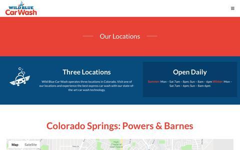 Screenshot of Locations Page wildbluecarwash.com - Locations – Wild Blue Car Wash - captured Oct. 18, 2018