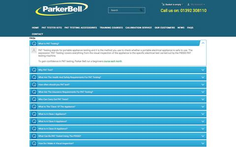 Screenshot of FAQ Page parker-bell.co.uk - FAQ - Parker Bell | PAT Testing Machines, Accessories & Training - captured Oct. 21, 2016