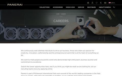 Screenshot of Jobs Page panerai.com - Panerai careers - Officine Panerai - captured Oct. 18, 2018